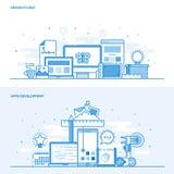 Flache Linie Farbekonzept - entwerfen Sie Studio und Apps-Entwicklung Stockfotos