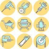 Flache Linie farbige Ikonen für Baugeräte Lizenzfreie Stockbilder