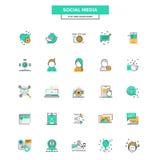 Flache Linie Farbikonen-Social Media Lizenzfreies Stockfoto