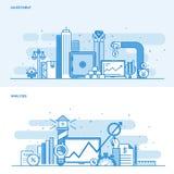 Flache Linie Farbkonzept Investition und Analyse lizenzfreie abbildung