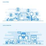 Flache Linie Farbkonzept Social Media und Sozialmarketing Lizenzfreies Stockbild