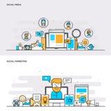 Flache Linie Farbkonzept Social Media und Sozialmarketing Stockfotografie