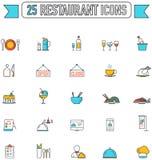Flache Linie Farblebensmittelgetränk und Restaurantgraphikikone Stockfotos