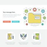 Flache Linie Geschäfts-Konzept-Website-Titel-Vektorillustration Moderne dünne lineare Anschlagvektorikonen Lizenzfreies Stockfoto