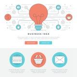 Flache Linie Geschäfts-Konzept-Website-Titel-Vektorillustration Stockfoto
