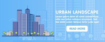 Flache Linie grafisches Bildkonzept des Designs, Websiteelementplan von Stadtlandschaft ikonen Auch im corel abgehobenen Betrag Lizenzfreie Stockbilder