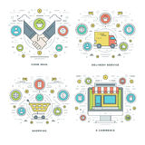 Flache Linie gutes Abkommen, Zustelldienst, Einkaufen, Geschäfts-Handels-Konzepte stellte Vektorillustrationen ein Stockbild
