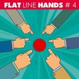 Flache Linie Hände 4 stock abbildung