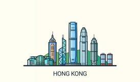 Flache Linie Hong Kong-Fahne Stockfotos