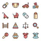 Flache Linie Ikone Baby-Ikonen Minimalistic Lizenzfreies Stockfoto