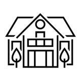 Flache Linie Ikone des Landhauses D?nnes Zeichen des Vektors des Sommerh?uschens mit B?umen, Vorstadteigentumslogo Immobilienmiet vektor abbildung
