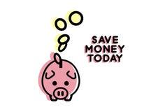 flache Linie Ikone des Sparschweins Stockfoto