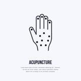 Flache Linie Ikone, Logo der Akupunktur Vector Illustration der Hand für traditionelle Behandlung, Alternativmedizinmitte stock abbildung