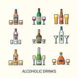 Flache Linie Ikonen der alkoholischen Getränke Stockfotos