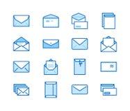 Flache Linie Ikonen der Umschläge Post, Mitteilung, offener Umschlag mit Buchstaben, E-Mail-Vektorillustrationen Dünne Zeichen fü lizenzfreie abbildung