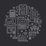 Flache Linie Ikonen des Finanzbuchhaltungskreisplakats Buchhaltungsbroschürenkonzept, Steueroptimierung, fester Buchhalter Vektor Abbildung