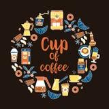 Flache Linie Ikonen des Kaffees Runder Rahmen - Kranz Lizenzfreies Stockbild