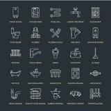 Flache Linie Ikonen des Klempnerarbeitservice-Vektors Bringen Sie Badezimmerausrüstung, Hahn, Toilette, Rohrleitung, Waschmaschin vektor abbildung