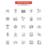 Flache Linie Ikonen-Geschäft und Start Stockbilder