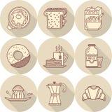 Flache Linie Ikonen zum geschmackvolles Frühstück Lizenzfreies Stockbild