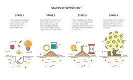 Flache Linie Ikonenkonzept der Investition und des Geldmengenwachstums Vektor Abbildung