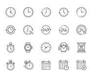 Flache Linie Ikonensatz der Zeit Wecker, Stoppuhr, Timer, Sandglas Tag und Nacht Kalendervektorillustrationen dünn stock abbildung