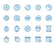 Flache Linie Ikonensatz der Zeit Wecker, Stoppuhr, Timer, Sandglas Tag und Nacht Kalendervektorillustrationen dünn lizenzfreie abbildung