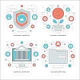 Flache Linie Internet-Sicherheit, Finanzwachstum, Bankdienstleistungen, Geschäfts-Konzepte stellte Vektorillustrationen ein Stockfotos