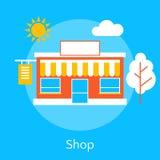 Flache Linie Konzept des Entwurfes des Shops Stockfotos