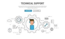 Flache Linie Konzept des Entwurfes für technische Unterstützung, Kundendienst, verwendet für Netzfahnen, Heldbilder, Druckerzeugn Lizenzfreie Stockbilder