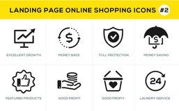 Flache Linie Konzept- des Entwurfesikonen für das on-line-Einkaufen, Websitefahne und Landungsseite Stockfotos