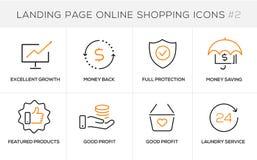 Flache Linie Konzept- des Entwurfesikonen für das on-line-Einkaufen, Websitefahne und Landungsseite Stockfoto