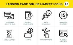 Flache Linie Konzept- des Entwurfesikonen für das on-line-Einkaufen, Websitefahne und Landungsseite Stockbild