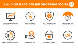 Flache Linie Konzept- des Entwurfesikonen für das on-line-Einkaufen, Websitefahne und Landungsseite Lizenzfreie Stockbilder