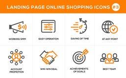 Flache Linie Konzept- des Entwurfesikonen für das on-line-Einkaufen, Websitefahne und Landungsseite Lizenzfreie Stockfotografie