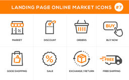 Flache Linie Konzept- des Entwurfesikonen für das on-line-Einkaufen, Websitefahne und Landungsseite Lizenzfreies Stockfoto