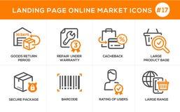 Flache Linie Konzept- des Entwurfesikonenon-line-Einkaufen, E-Commerce-mhandelsdienstleistungen, Zahlungsverfahren, Unterstützung Lizenzfreie Stockbilder