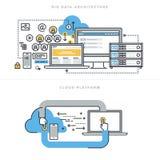 Flache Linie Konzepte des Entwurfes für große Datenarchitektur und die Wolkendatenverarbeitung lizenzfreie abbildung