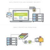 Flache Linie Konzepte des Entwurfes für Internet-Sicherheit und E-Mail-Schutz stock abbildung