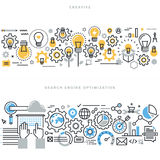 Flache Linie Konzepte des Entwurfes für kreativen Prozessarbeitsfluß und SEO