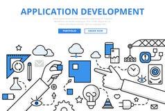 Flache Linie Kunstvektor des Anwendungs-APP-Entwicklungskonzeptes