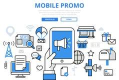 Flache Linie Kunstvektorikone des beweglichen digitalen Marketing-Konzeptes des Promo Lizenzfreies Stockbild