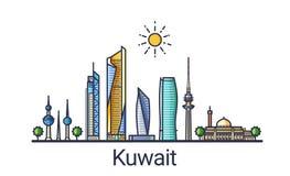 Flache Linie Kuwait-Fahne Lizenzfreies Stockfoto