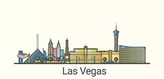 Flache Linie Las Vegas-Fahne Lizenzfreies Stockbild