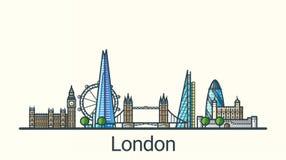 Flache Linie London-Fahne Lizenzfreie Stockbilder