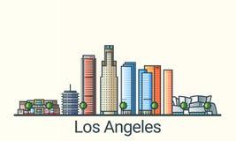 Flache Linie Los Angeles-Fahne Stockbilder