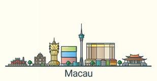 Flache Linie Macao-Fahne Lizenzfreies Stockbild