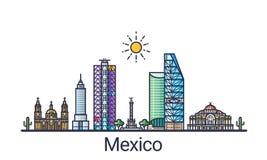 Flache Linie Mexiko-Fahne Lizenzfreie Stockfotografie