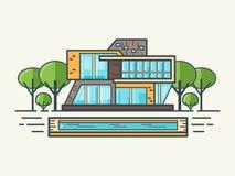 Flache Linie modernes Haus Lizenzfreies Stockfoto