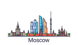 Flache Linie Moskau-Fahne Stockbild